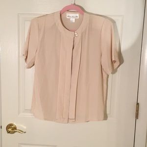 Vintage cream short sleeve blouse